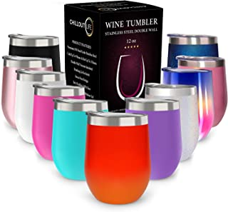 CHILLOUT LIFE 12 oz Stainless Steel Tumbler with Lid & Gift Box | Wine Tumbler Double Wall Vacuum Insulated Travel Tumbler Cup for Coffee, Wine, Cocktails, Ice Cream, Red Fire Tumbler