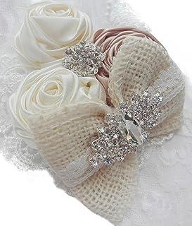 DANMY Baby Girl Super Stretchy Headband Big Lace Petals Flower Baby Hair Band Newborn Hair Accessories (Beige)
