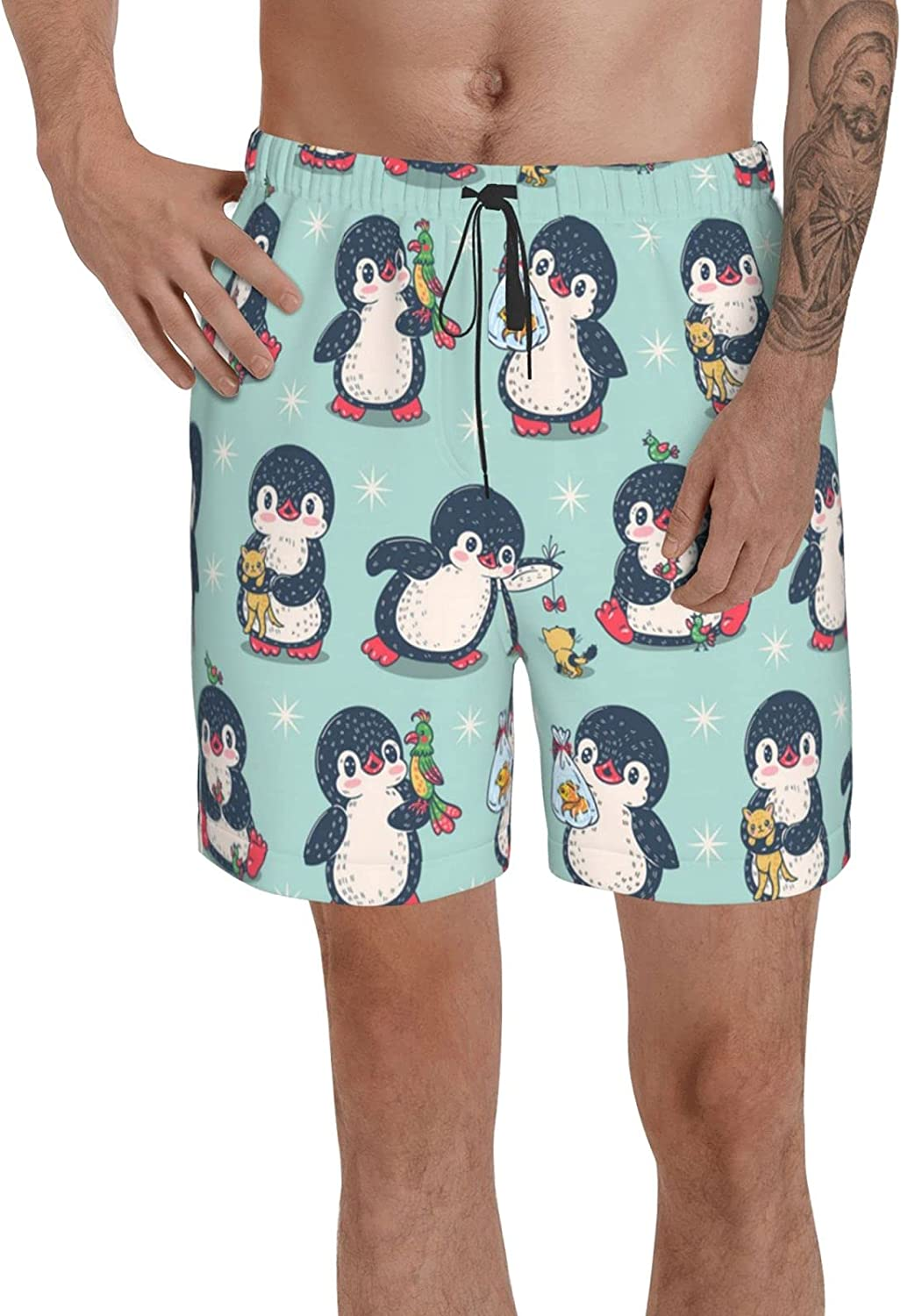 PNNUO Mens Cute Penguins with Pet Swim Trunks Beach Surf Board Shorts Quick Dry Mesh Lining