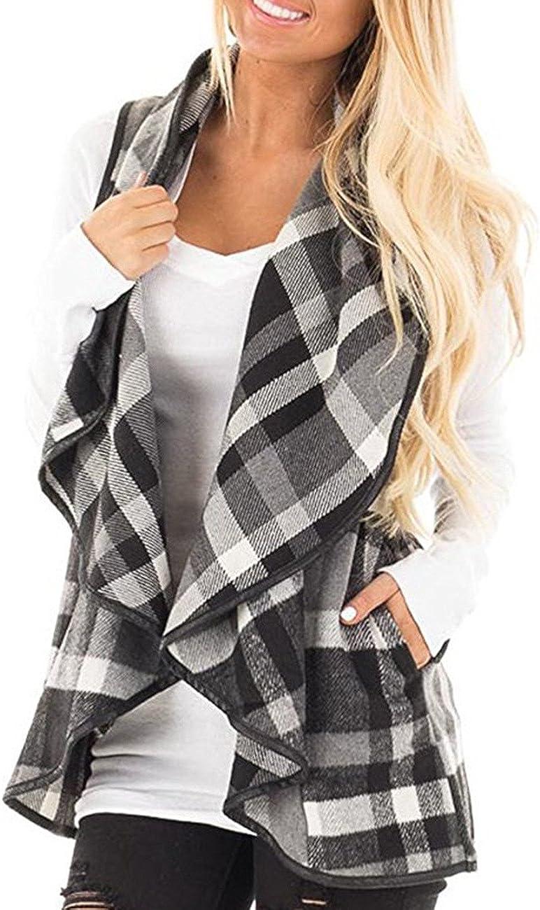 Wishment Women's Draped Open Front Lapel Sleeveless Plaid Vest Waterfall Cardigan Jackets(RE,2XL) …