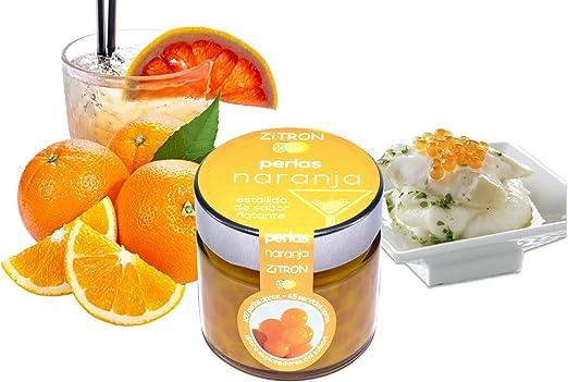 Perlas naranja para cóctel. Fruta concentrada en perlas para coctel /decoración / tapas / postres/ ensaladas / navidad / bebidas. Esferas zitron de ...