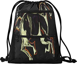 Puppy Horse Printed Storage Backpack Gym sack Drawstring Bags for Women Travel Small