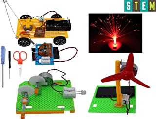 Science Kits, Educational Stem Engineering Products,4 Set Assembly DIY Kits for Kids or Teens, Model Car,Solar Panel Fan,Hand Crank Generator,Fiber Optic Lamp.