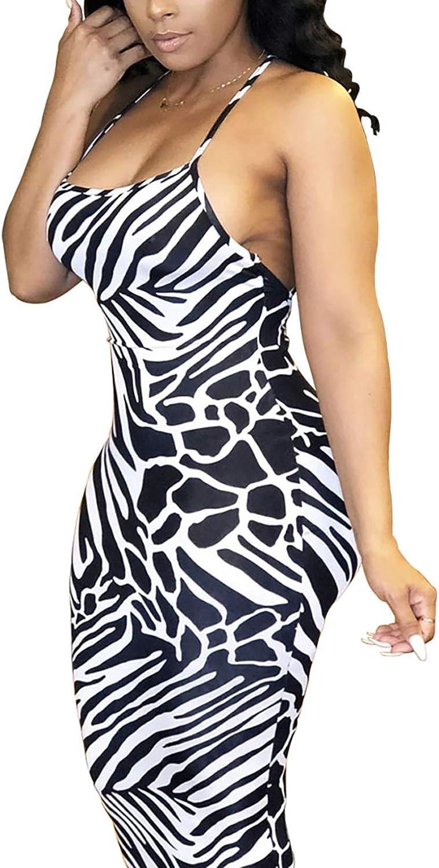 MorwenVeo Women's Sexy Spaghetti Strap Dress Bodycon Club Party Backless Mini Cocktail Sleevless Dresses