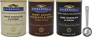 Ghirardelli Sweet Ground Premium Powder 3 Flavor Variety, 1 - 3 Pound Can Each, White Chocolate, Chocolate, and Dark Chocolate with Limited Edition Measuring Spoon