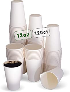 Cuppa Cup Pack 120 Disposable Paper Cups Jumbo Size 12oz for Drink Hot Cold Coffee - White