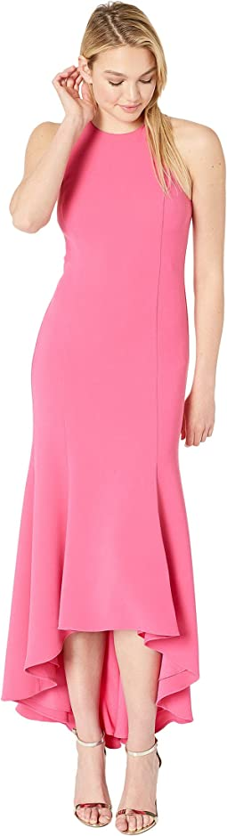 Sleeveless High Neck Crepe High-Low Gown