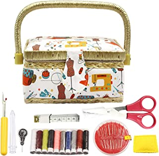 Flrhsjx Sewing Basket with Sewing Kit Accessories,Small Sewing Organizer Box with Supplies DIY Sewing Kit for Kids (Orange)