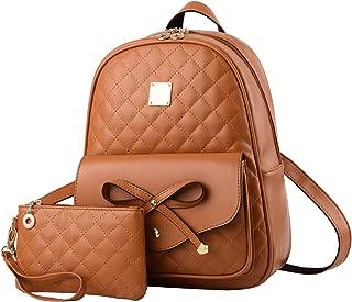 I IHAYNER Girls Bowknot 2-PCS Fashion Backpack Cute Mini Leather Backpack Purse for Women