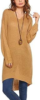 Jersey Largo Mujer Primavera Otoño Tejer Arriba Top Elegantes Moda Cómodo Ocasional Modernas Casual Anchas Pullover Punto ...