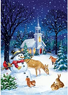 Church Snowman - STANDARD Size, 28 Inch X 40 Inch, Decorative Double Sided Flag Printed in USA - Copyright and Licensed, Trademarked by Custom Décor Inc.