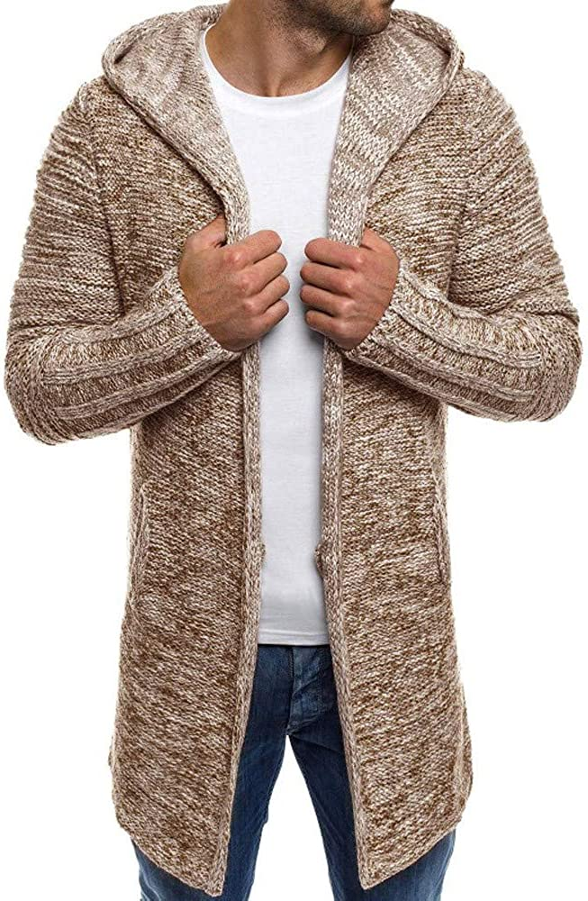 SPE969 Mens Button Hoodie Knit Cardigan,Warm Patchwork Knit Trench Coat Cardigan Long Sleeve Outwear Blouse