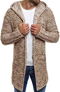 Men's Hooded Knit Trench Jacket Long Sleeve Cardigan Sweater