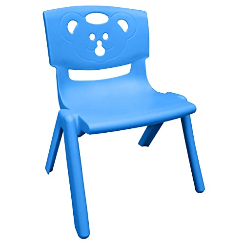Sunbaby Magic Bear Face Chair Strong & Durable Plastic Best for School Study, Portable Activity Chair for Children,Kids,Baby (Weight Handles Upto 100 Kg)-Blue