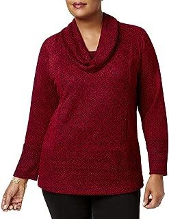 Style & Co. Womens Plus Jacquard Geometric Shawl-Collar Sweater Red 3X