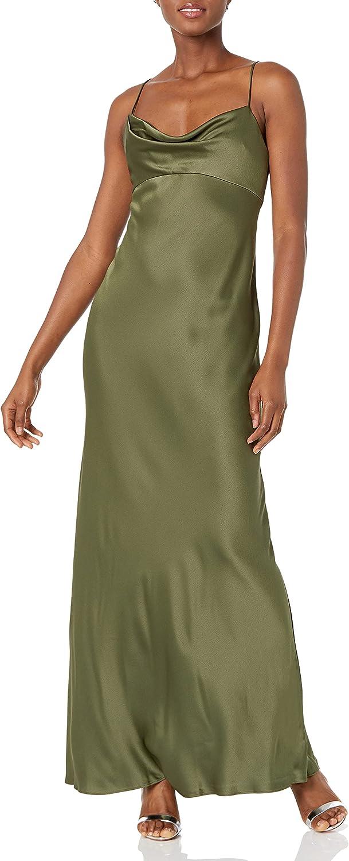 Jenny Yoo Women's Addison Cowl Neck Empire Waist Satin Dress