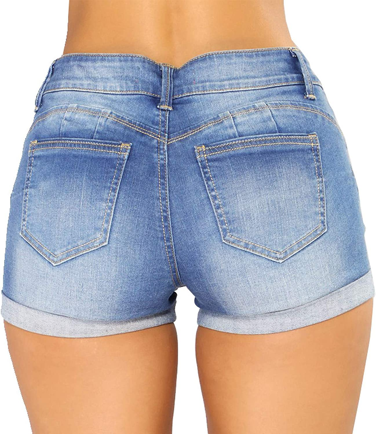 Pisexur Ripped Stretch Short Denim Jeans High Waist Buttons Casual Summer Hot Mom Jeans Outdoor Outing Short Denim Pants