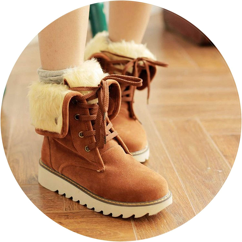 Boots Fur Warm Snow Boots Female Suede Lace Up Ankle Boots Women shoes Women Bottes Winter shoes