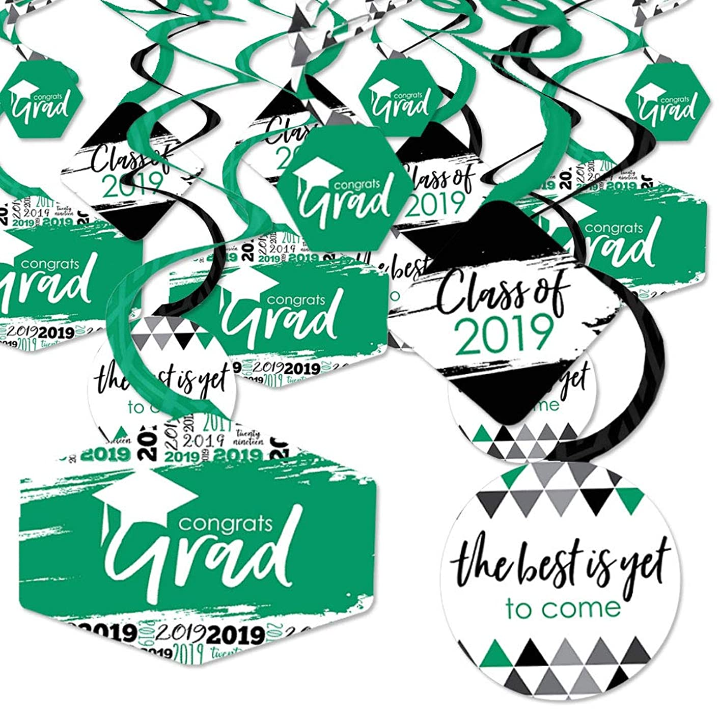 Green Grad - Best is Yet to Come - 2019 Green Graduation Party Hanging Decor - Party Decoration Swirls - Set of 40