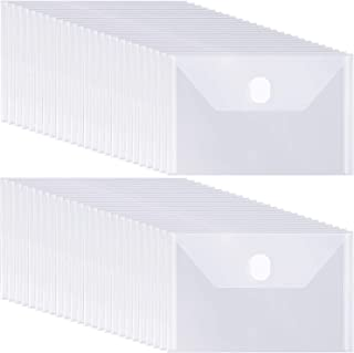 50 Pieces Small Clear Plastic Envelopes 7.5 x 5.5 Inch Clear Envelopes Folder with Hook and Loop Closure Storage Holder fo...
