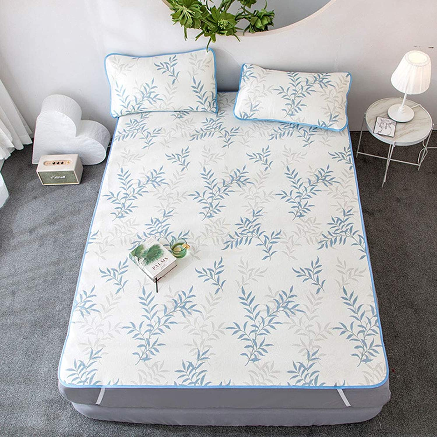 Summer Mattress, Three-Piece Set, Printed Ice Silk Mat, Summer Cool Foldable Washable Sleeping Mat, Suitable for Home, Dormitory, Gift A 1.8X2m