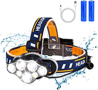 BRIGENIUS Rechargeable Headlamp, 13000 Lumen Super Bright 7 LED 8 Modes Headlight Flashlight 18650 USB Rechargeable Waterproof Head Lamp for Running, Fishing, Camping, Hiking, Outdoors