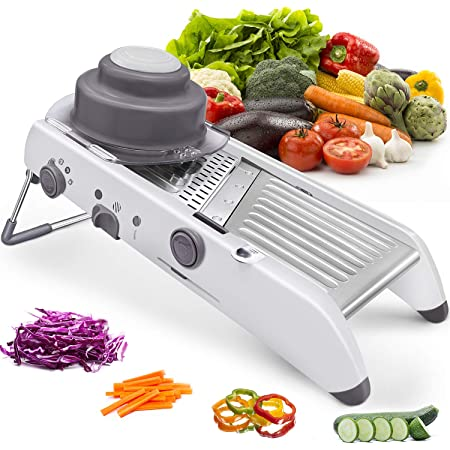 Mandoline Slicer Stainless Steel Vegetable Julienner Built-in Adjustable Safe Blades Cutter Chopper and Grater for Kitchen, Professional Mandalin Food Slicer Potato Slicer Veggie Onion Tomato Fruit