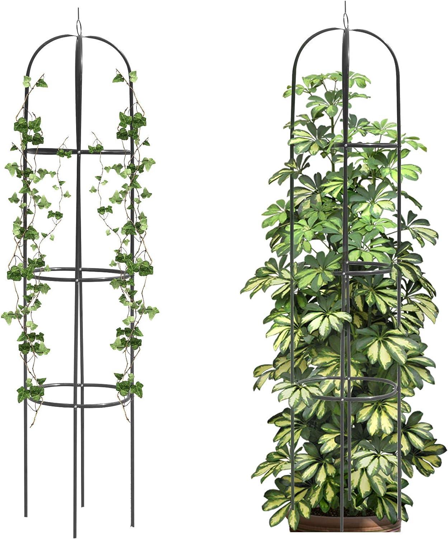 Mr.Ton Tower Obelisk Garden Trellis, Plant Support for Climbing Vines and Flowers Stands,Dark Green Lightweight Plant Tower, 6 feet