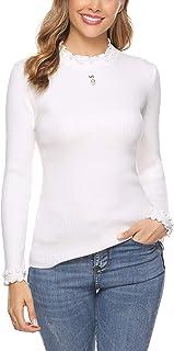 iClosam Jersey De Cuello Alto Mujer Cuello Redondo Suaves JerséIs De Punto Manga Larga Pullover SuéTer Top