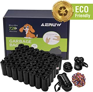 OUGE Dog Poop Bag, Pet Dog Waste Bags, 720-counts 48 Refill Rolls Biodegradable Dog Bags with 2 Dispensers & Leash Clip Easy Tear-Off Poo Pickup Bags Pooper Scooper Leak-Off Pet Supplies (Black48)