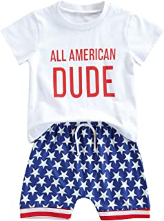 FYBITBO Baby Boy 4th of July Outfits Short Sleeve Tee Shirt and Casual Shorts 2Pcs Fourth of July Summer Outfit