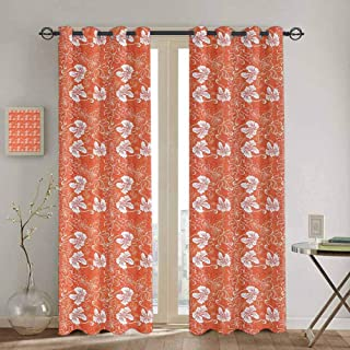 Wlkecgi Burnt Orange Extra Long Curtain Hawaiian Hibiscus Pattern with Swirls and Curves on Background Soundproof Shade W72 x L84 inch Burnt Orange and White