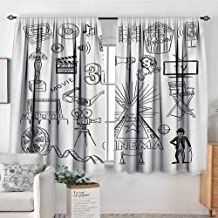 Movie Theater Thermal Insulating Blackout Curtain Hand Drawn Symbols of Hollywood Oscar 3D Glasses Sketch Style Arrangement Thermal Blackout Curtains 55