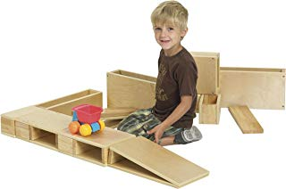 ECR4Kids ELR-0342 Over-Sized Hollow Wooden Block Set, Natural (18-Piece)