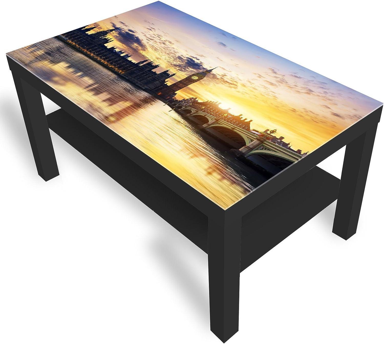 DekoGlas IKEA Lack Beistelltisch Couchtisch 'London' Sofatisch mit Motiv Glasplatte Kaffee-Tisch, 90x55x45 cm Schwarz
