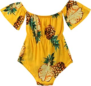 ABEE Baby Girls Off Shoulder Short Sleeve Pineapple Print Bodysuit Rompers Outfits Clothes