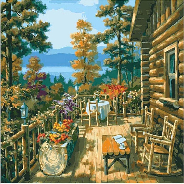 NDSLJSLYH Bricolage Peinture Numérique Balcon Cabine, 60X75Cm Cadeau De Peinture à l'huile De étudiant Débutant pour Enfants Adultes Peindre Kits Home Decor