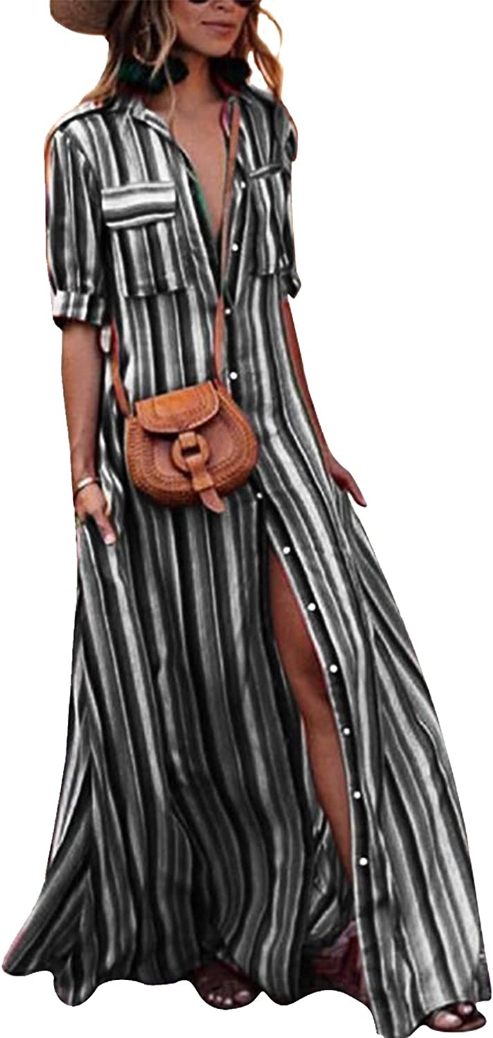 Yanekop Womens Rainbow Loose Button Down Stripes Half Sleeve Maxi Dress with Pockets