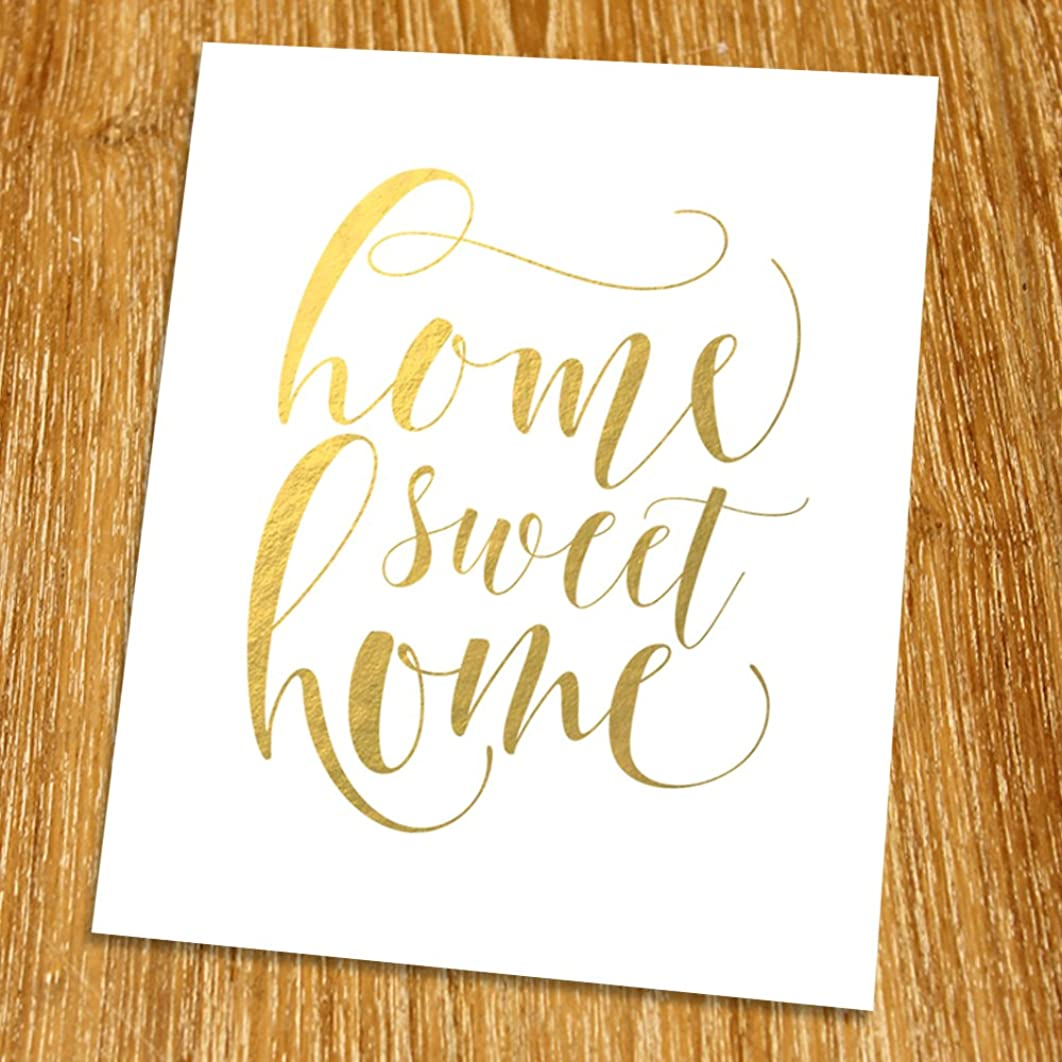 Home sweet home Gold Print (Unframed), Living Room Quote, Entrance Wall Decor Gold Foil Print, Gold Foil Art, 8x10