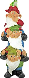 Design Toscano QM2360300 Tower of Three Gnomes and Frog Statue