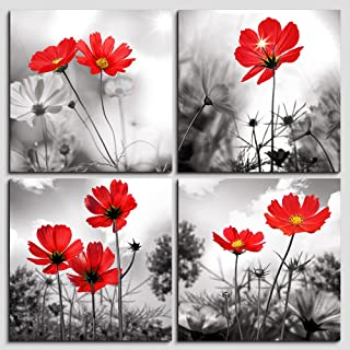 Wall art 4Panel Modern Salon Theme Black and White Plant The red flower Flower Abstract Painting Still Life Canvas Wall Art for Home Decor Flower Canvas Print Wall Art Painting For Living Room Decor