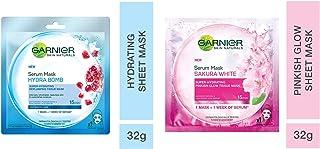 Garnier Skin Naturals, Hydra Bomb, Face Serum Sheet Mask (Blue), 32g and Skin Naturals, Sakura White, Face Serum Sheet Mas...