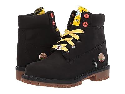 Timberland Kids 6 Premium Boot with Lined Tongue Spongebob (Big Kid) (Black Nubuck) Kids Shoes