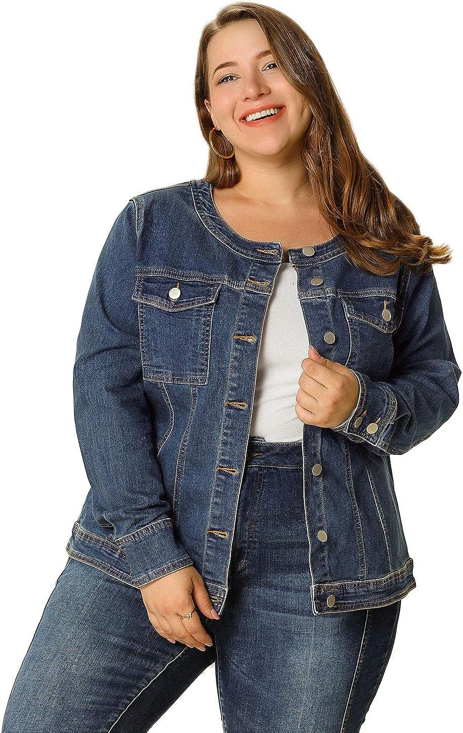 Agnes Orinda Women's Plus Size Long Sleeves Collarless Denim Jacket