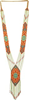 El Allure Preciosa Jablonex American Native Inspired Multi Color Patterned Tie Seed Bead Long Handmade Vintage Designer Unique Fashion Costume Seed Beaded Style Necklace for Women.