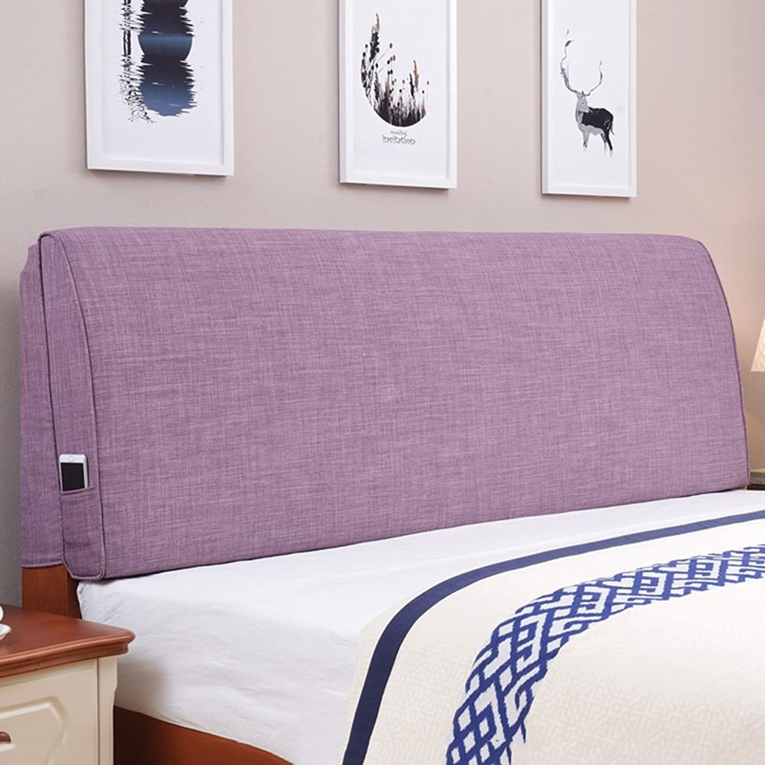 WENZHE Upholstered Fabric Headboard Bedside Cushion Pads Cover Bed Wedges Backrest Waist Pad Cloth Art Soft Case Large Back Home Bedroom Lounge Multifunction Pillow Bed Cover Washable, There Are Headboards, 5 colors, 9 Sizes Optional ( color   5  , Size