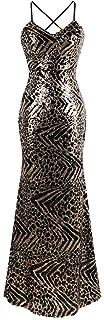 Angel-fashions Mujer Correa de Espagueti Leopardo Vestido de Noche