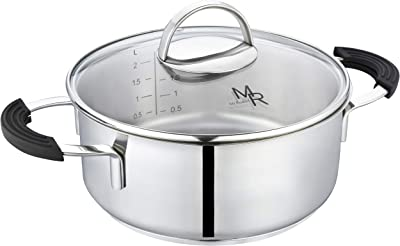 Mr Rudolf 2 Quart Dutch Oven With Glass Lid,Nickel Free 18/10 Stainless Steel Stockpot With 2 Handles,Dishwasher Safe Stock Pot 2 Qt Cooking Healthy Cookware