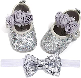 LIVEBOX Baby Girls Shoes Soft Sole Prewalker Mary Jane Princess Party Dress Crib Shoes with Free Bow Knot Baby Headband