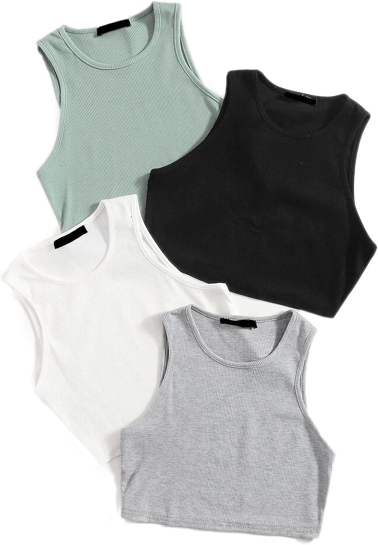 SheIn Women's 4packs Round Neck Crop Tank Top Sleeveless Rib Knit Tops
